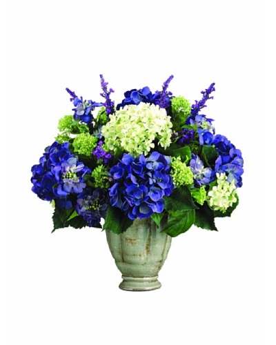 Lavender, Hydrangea, and Candytuft Mix In Ceramic Vase
