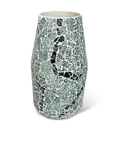Global Pickings Green Mint Contour Mosaic Vase