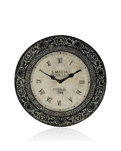 Venezia Clock Design Decorative Metal Wall Plaque [Black/Parchment]