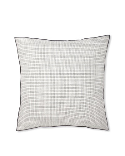 Vera Wang Crinkle Plaid Euro Sham, White/Grey