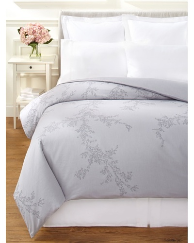 Vera Wang Trailing Vines Duvet Cover, Light Clover, Queen