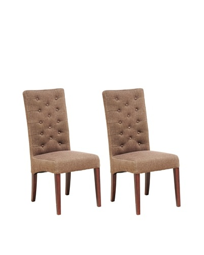 Verde Collection Set of 2 Soho Side Chairs, Colonial Brown