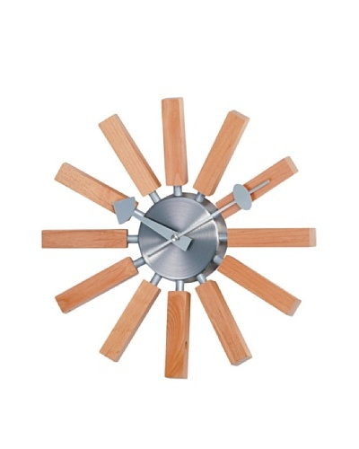Verichron Natural Wood Spokes Wall Clock, Wood/Silver