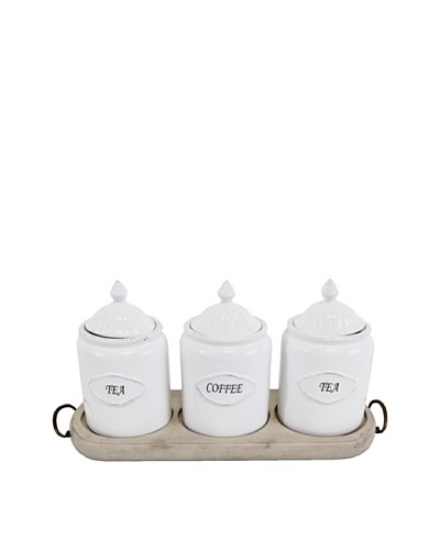 Tea, Coffee and Sugar Canisters with Base