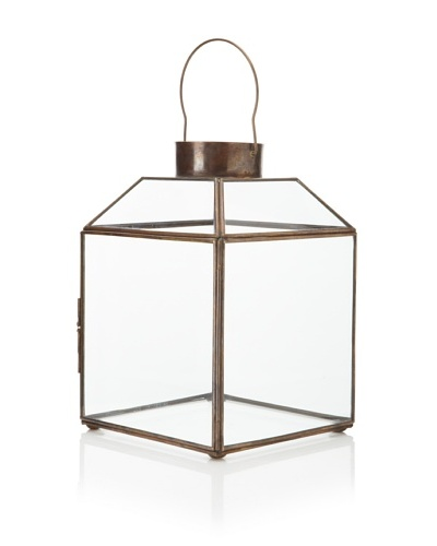 Brittany Antique Finish Clear Glass Lantern