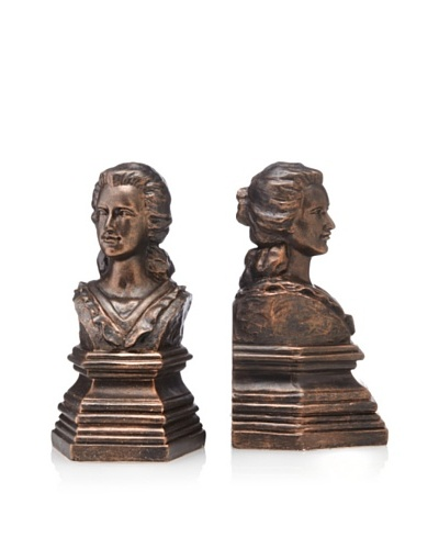 Venezia Set of 2 Bronze-Finish Resin Bookends