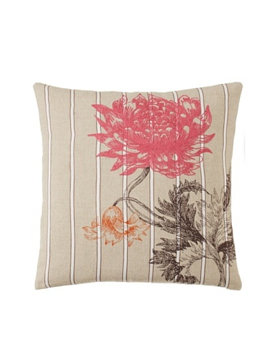 "Villa Home Arcadia Floral-Embroidered Decorative Pillow, Pink/Orange, 18"" x 18"""