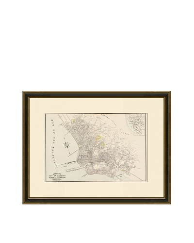 Antique Lithographic Map of Oakland, CA, 1883-1903