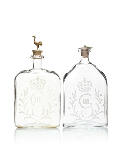 Vintage Pair of French Decanters, c. 1960s