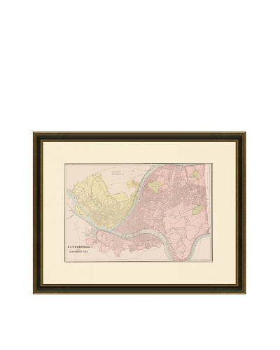 Antique Lithographic Map of Pittsburgh, 1883-1903
