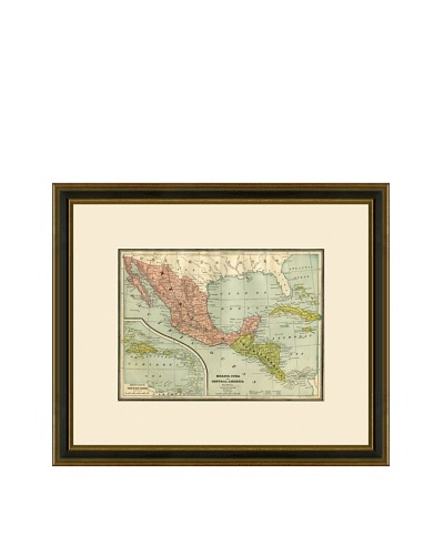 Antique Lithographic Map of Mexico, Cuba, & Central America, 1883-1903
