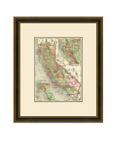 Antique Lithographic Map of California, 1886-1899
