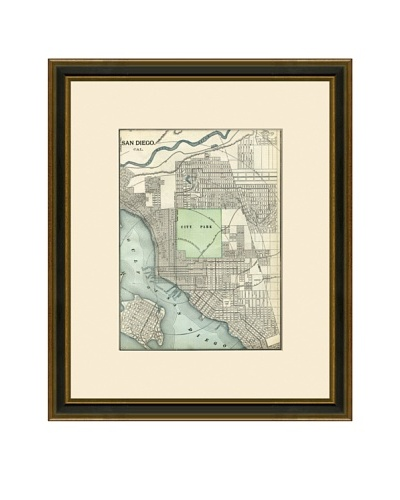 Antique Lithographic Map of San Diego, 1883-1903