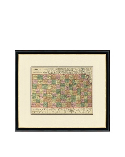 Vintage Print Gallery Antique Kansas Map, 1892-1895