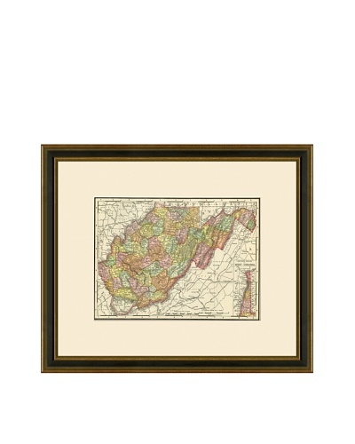 Antique Lithographic Map of West Virginia, 1886-1899