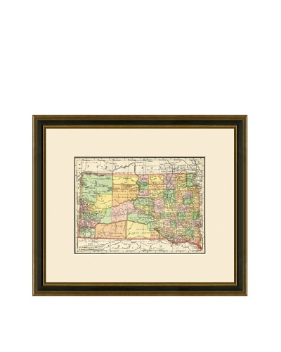 Antique Lithographic Map of South Dakota, 1886-1899