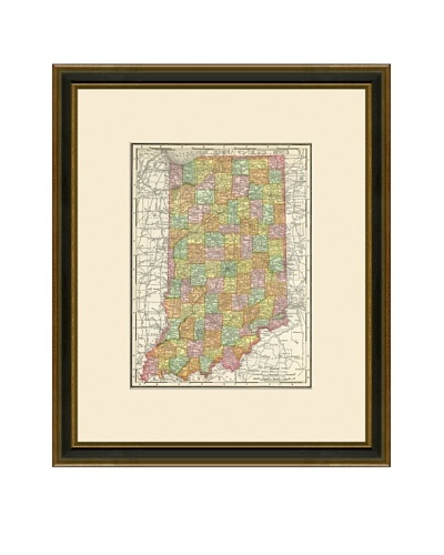 Antique Lithographic Map of Indiana, 1886-1899