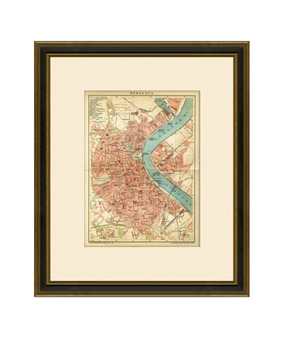 Antique Lithographic Map of Bordeaux, France, 1894-1904