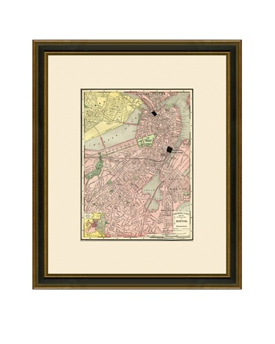 Antique Lithographic Map of Boston, 1886-1899