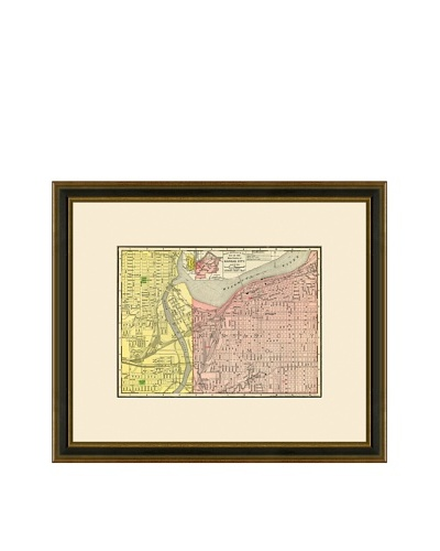 Antique Lithographic Map of Kansas City, 1886-1899
