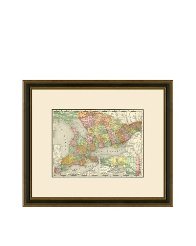 Antique Lithographic Map of Ontario, 1886-1899
