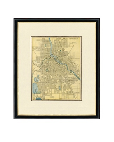 Vintage Print Gallery Antique Minneapolis Map, 1892-1895