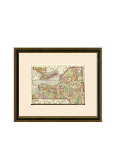 Antique Lithographic Map of New York, 1886-1899