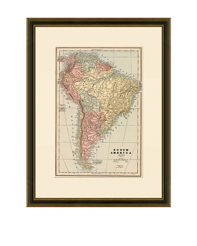 Antique Lithographic Map of South America, 1883-1903