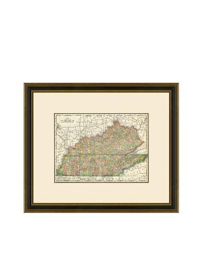 Antique Lithographic Map of Kentucky & Tennessee, 1886-1899