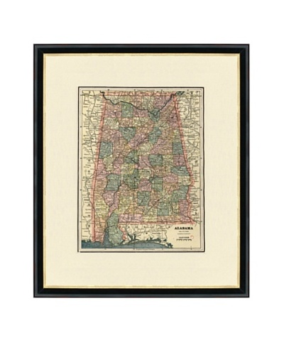 Vintage Print Gallery Antique Alabama Map, 1892-1895