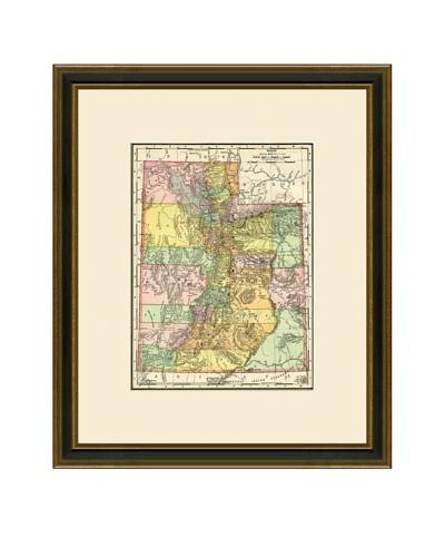 Antique Lithographic Map of Utah, 1886-1899