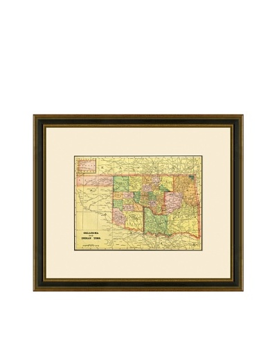 Antique Lithographic Map of Oklahoma & Indian Territory, 1883-1903