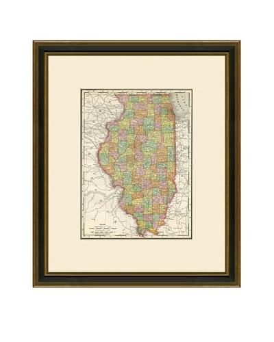 Antique Lithographic Map of Illinois, 1886-1899