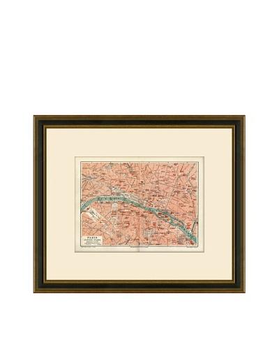 Antique Lithographic Map of Paris, 1894-1904