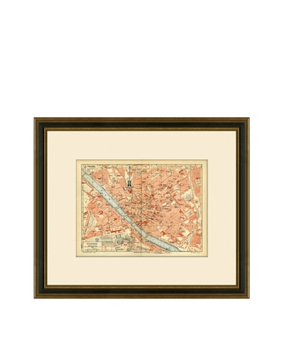 Antique Lithographic Map of Florence, 1894-1904