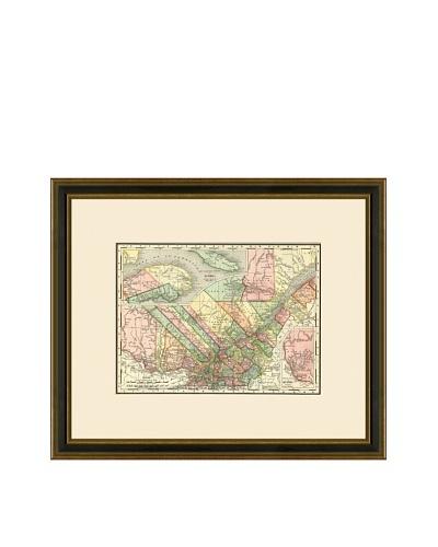 Antique Lithographic Map of Quebec, 1886-1899
