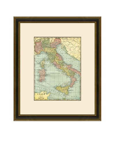 Antique Lithographic Map of Italy, 1883-1903