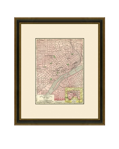 Antique Lithographic Map of St. Paul, 1886-1899