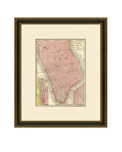 Antique Lithographic Map of New York City, 1886-1899