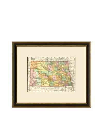 Antique Lithographic Map of North Dakota, 1886-1899