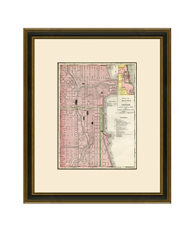 Antique Lithographic Map of Chicago, 1886-1899