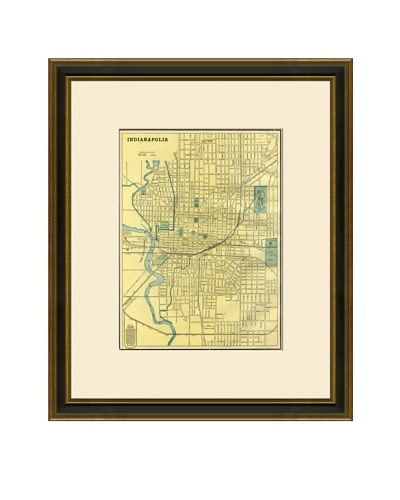 Antique Lithographic Map of Indianapolis, 1883-1903