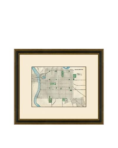 Antique Lithographic Map of Sacramento, 1883-1903