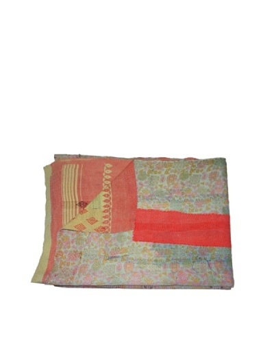 Large Vintage Karishma Kantha Throw, Multi, 60″ x 90″