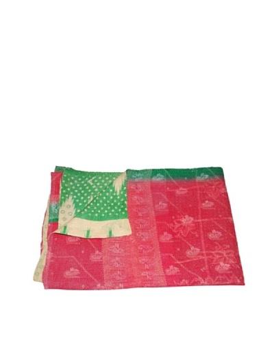 """Large Vintage Kanti Kantha Throw, Multi, 60"""" x 90"""""""