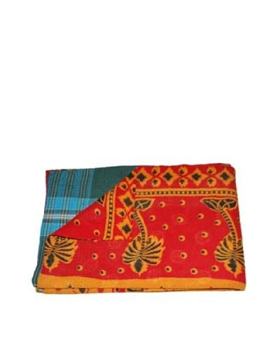 Large Vintage Gowri Kantha Throw, Multi, 60″ x 90″