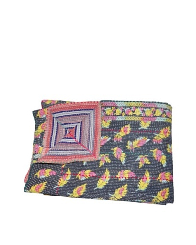 Large Vintage Parul Kantha Throw, Multi, 60″ x 90″