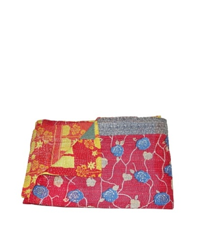 "Large Vintage Parul Kantha Throw, Multi, 60"" x 90"""