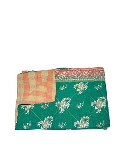 Large Vintage Lavanya Kantha Throw, Multi, 60 x 90