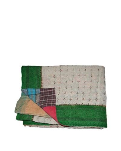 Large Vintage Chanda Kantha Throw, Multi, 60 x 90